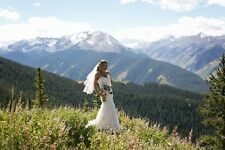 Wedding Dress w/ Removable Sleeves & Vale Size 8-10