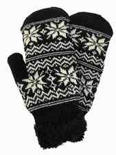 David & Young Womens Black & White Snowflake Knit Mittens Sherpa Lined