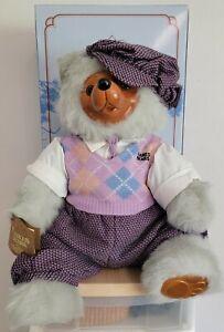"""ROBERT RAIKES BEARS """"Arnold"""" Teddy Bear #5459 with Box and COA Golfer"""