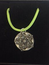 "TUDOR ROSE DR54 Made From Fine English Pewter On a 18"" Green Cord Necklace"