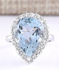 8.66 Carat Natural Aquamarine 14K White Gold Diamond Ring