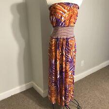 Womens BCBG Max Azria Orchid Multi Colored Silk Strapless Maxi Dress Size S