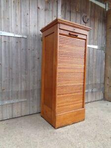 Vintage Mid Century Oak Tambour Filing Cabinet Drawers MCM