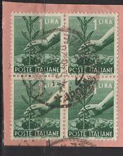 ITALIA REPUBBLICA 1945-46 serie DEMOCRATICA - 1 lira usato - QUARTINA