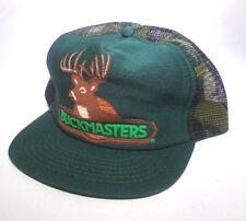 BuckMasters Vintage Snap Back Mesh Trucker Cap Hunter USA Woodland Camo Grn 80s