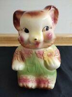 Vintage American Bisque baby girl bear cookie jar