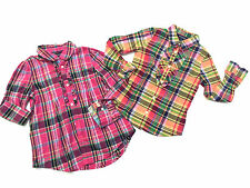 Lot of 2 Ralph Lauren Girl Ruffles Plaid Cotton Long Sleeves Shirts Size 6-6X