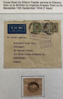 1934 Dar Es Salam Tanganyika Feeder Service Airmail Cover To Marseille France