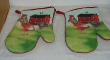(Lot of 2) - Barn Rooster Oven Mitts Pot Holders Holder Free Shipping