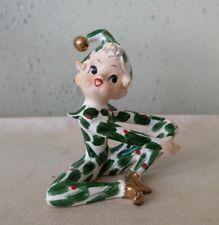 Vtg Lefton 303 Holly Elf Pixie Christmas Spaghetti Hair Seated Figurine 1950s