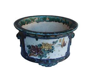 Chinese Ceramic Dimensional Flower Butterfly Round Green Glaze Planter cs3246