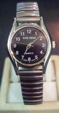Vintage style Alan Fried black dial silver tone quartz watch