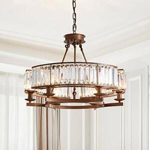 SILJOY Bronze Round Crystal Chandelier Modern Rustic Pendant Chandelier for D...