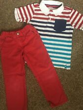 Gymboree Boys 4t Striped Polo Style Top + Red Jeans