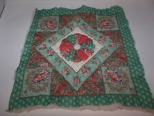 Pretty Quilt Block Roses and Paisley Print- Hand Quilted w/ Batting and Backing