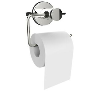 Bathroom Wall Mounted Suction Hook Toilet Roll Holder Chrome Tissue Paper