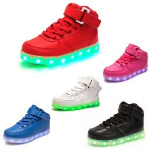 Kids High Top Boys Girls LED Light Up Casual Luminous Sneakers Trainers Shoes UK