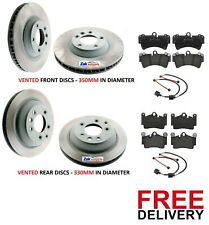 FOR AUDI Q7 3.0 TDi QUATTRO 4.2 S LINE FRONT & REAR BRAKE DISCS AND PADS SENSORS