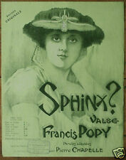 Orig c1910 French Music COVER Sphinx by Francis Popy