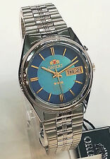 ORIENT 3 Star Automatic Watch Mens SILVER tone Blue dial Date Day FEM6Q00DL9