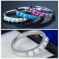 Fire Opal White Blue Gorgeous Woman Emerald Gemstone Silver Ring Size6 7 8 9 10