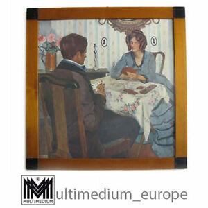 Biedermeier Rahmen mit Lithographie Oswald Moser um 1920