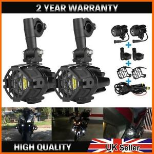 2X LED Motorcycle Auxiliary Fog Light Driving Spotlight + Cover For BMW R1200GS