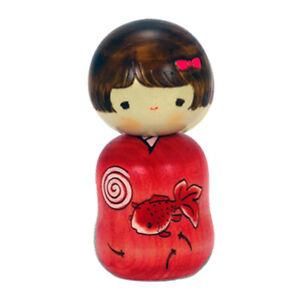 "Japanese 4.5""H Kokeshi Wooden Doll KINGYO Gold Fish Kimono Girl/ Made in Japan"