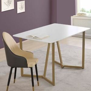 Dining Table MDF Steel Gold Frame 4 Seater Sturdy Durable Home Modern White