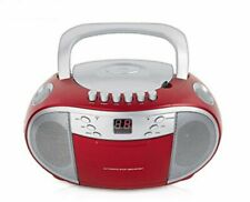 TERRIS Radio Tragbarer CD-Player Kassettendeck Boombox USB AUX IN UKW FM ROT