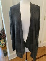 Eileen Fisher Cardigan Sweater M Metallic Silver Gray Charcoal Sparkle Long