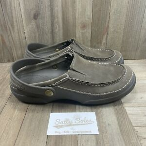 Crocs Mesa Brown Leather Upper Slingback Closed Toe Slip On Sandals Men's Size 9