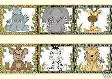 Safari Animal Wallpaper Border Wall Art Decals Jungle Baby Boy Nursery Stickers
