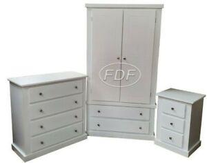 HANDMADE DEWSBURY (WHITE+SILVER HANDLES) 3 PIECE BEDROOM FURNITURE SET NOT FLAT-