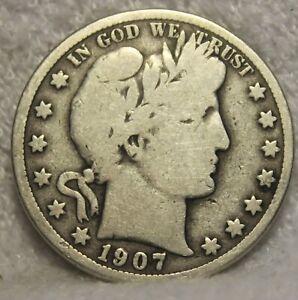 1907O barber half dollar