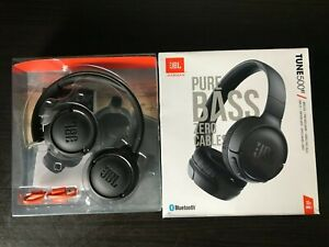 JBL Tune 500BT Pure Base Bluetooth On-ear Headphones T500bt JBLT500BTBLK 16 hrs
