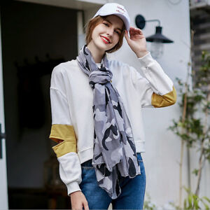 New Camouflage Soft Cotton Voile Scarf Wrap Shawl Stole Scarves Comfortable