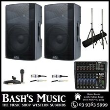 Alto Powered DJ PA Speaker System with Mixer, Microphone, Stands and Cables Pack