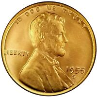(1)  1955 S Lincoln Wheat Cent Beautiful Choice BU Mint Luster Red Uncirculated