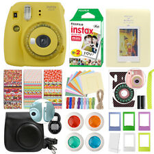 Fujifilm Instax Mini 9 Instant Film Camera Clear Yellow + 20 Film Deluxe Bundle