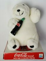 """Vintage 1994 Coca Cola Plush Polar Bear With Bottle Play By Play 6.5"""""""