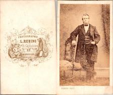 Rubino, Marseille, Homme en pose Vintage CDV albumen carte de visite  CDV, tir