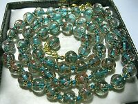 """Teal Green Venetian Murano Glass Gold Foil Bead Vintage Style 26"""" Long NECKLACE"""