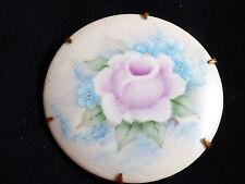 "Porcelain Rose Flower Pin Brooch 2"" Vtg Hand Painted Gold Tone Metal"