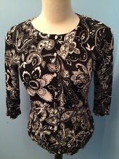 Allison Brittney Women's Sweater Sz Med Black/White Three Quarter Length Sleeves