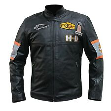 Men's HD Harley Eagle Style Biker Real Leather Motorcycle Black Jacket