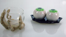 Halloween Eye Ball Salt and Pepper Shakers and Boney Hand Dish