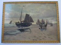 ANTIQUE NAUTICAL PAINTING BOATS SHIPS COASTAL SEASCAPE FIGURES LANDSCAPE OLD
