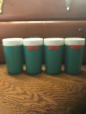 4 Vtg Mid Century Turquoise White NFC Thermal Insulated Tumblers New!
