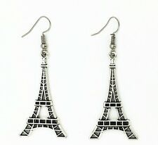 Antique Silver Plated Eiffel Tower Dangle Hook Drop Earrings Vintage Jewelry